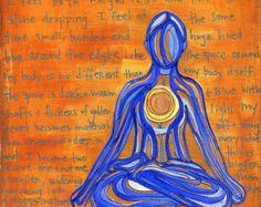 Yoga Art 5x5 Print Playful Prayer yoga wall art by ElizaTobin