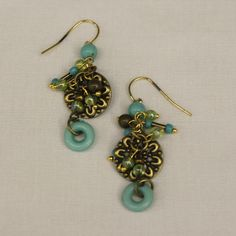 Poseidon Earrings: handcrafted earrings featuring glass, metal beads and charms  - Acacia Lifestyle