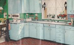 Retro home decor - Really imaginative styling concepts. diy retro home decor vintage kitchen help shared on this day For more fantabulous info jump to the link for the pin suggestion 5005187149 right now Kitchen Retro, Vintage Kitchen, Retro Kitchens, Vintage Hutch, Aqua Kitchen, 1950s Decor, Retro Home Decor, Blue Kitchen Cabinets, Mid Century Modern Kitchen