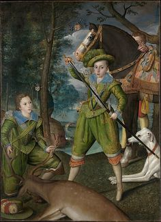 Robert Peake the Elder (British, ca. 1551–1619). Henry Frederick (1594–1612), Prince of Wales, with Sir John Harington (1592–1614), in the Hunting Field, 1603. The Metropolitan Museum of Art, New York.Purchase, Joseph Pulitzer Bequest, 1944 (44.27) #dogs