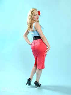 Pencil Skirt in Coral by Pinup Couture