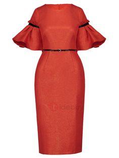 #Spring #AdoreWe #TideBuy - #TideBuy Mid-Calf Belt Half Sleeve Belt Womens Bodycon Dress - AdoreWe.com