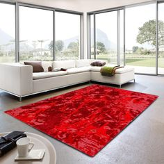 Teramo 162 010 Abstract Red Rug By Golze Modern Colors, Vibrant Colors, Colours, Floral Rug, Red Rugs, Modern Design, Pure Products, Abstract, Modern Times