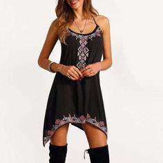 Vestido de verão Casual Mini Vestido Spaghetti Strap A Linha Assimétrica Hem Imprimir Sexy Party Club Vestido Sem Mangas O Pescoço Vestido