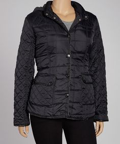 Take a look at this Dollhouse Black Diamond Quilt Thin Fill Jacket - Plus on zulily today!
