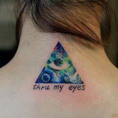 incredible galaxy illuminati tattoo. so dope.
