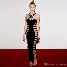 2016 2016 Sexy Black Spaghetti Strap Party Dresses Striped Hollow Out Bandage Dress Maxi Runway Dress H2345 From Cococlothing, $79.0 | Dhgate.Com