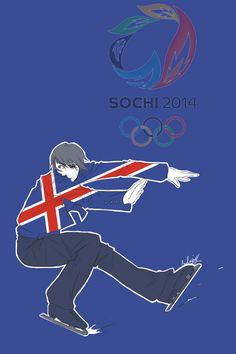 First in a series showing the Hetalia Nordics as athletes in the 2014 Sochi Winter Olympics: Eiríkur (head-canon name for Iceland) as a figure skater - Art by inverted-typo.tumblr.com