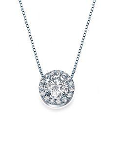 White Gold Halo Round Diamond Pendant Necklace - 'Vintage Rose' Design