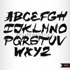 Alphabet d'aquarelle noir calligraphie manuscrite
