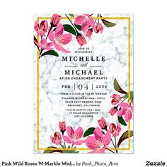 Pink Wild Roses W-Marble Wedding Engagement Party Invitation Wedding Rehearsal Invitations, Engagement Party Invitations, Elegant Wedding Invitations, Custom Invitations, Invites, Elegant Wedding Programs, Dinner Invitation Template, White Marble, Pink Roses