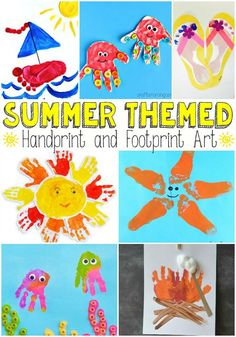 Summer theme painting with hands and feet