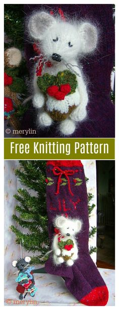 The Christmas Mouse Free Knitting Pattern is the perfect way to use up odds and ends of your stash. Christmas Knitting Patterns, Crochet Toys Patterns, Baby Knitting Patterns, Stuffed Toys Patterns, Free Knitting, Knitting Toys, Knitted Christmas Decorations, Knit Christmas Ornaments, Christmas Toys