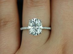 Rosados Box Darcy White Gold Oval FB Moissanite and Diamonds Classic Engagement Ring