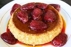 Buena cocina mediterranea: Flan de huevo con fresas confitadas