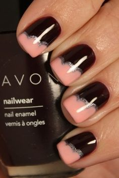 Black and pink nails art  #avon #polish #peach - bellashoot.com