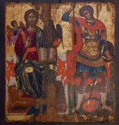 Φορητή εικόνα με το Χριστό εν δόξη και τον άγιο Γεώργιο δρακοντοκτόνο. Έργο του αγιογράφου Εμμ. Καλιάκη. Αυγοτέμπερα σε ξύλο. Μέσα 17ου αι.