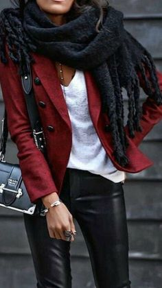 Red military style jacket white v neck tee black scarf and faux leather pants