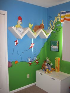 Cute shelving idea - and in a Seuss room! To be a second wall - with you'er than you quote.
