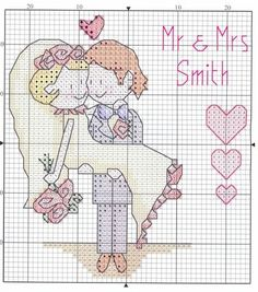 Gelin & Damat kanaviçe şablonu Bride & Groom cross stitch pattern