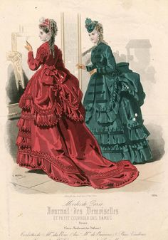 abut 1870, look at the pince nez the woman in red is holding and the delicate lace ribbon holding the women in green's hat in place!