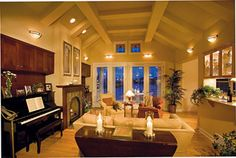 Idea for coffered/vaulted ceiling. Photo Tour - Sater Design Collection, Inc. The Dune Ridge House Plan DDWEBDDDS-7078 - Page