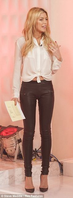 Black leather pants white blouse date night  spring autumn