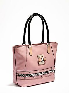 AUTHENTIC NEW NWT GUESS SONJA PINK WHITE TOTE BAG PURSE