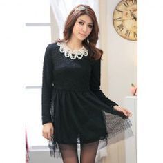 $20.64 Elegant Style 2013 Spring Lace Voile Splice Long Sleeve Plus Size Dress For Women