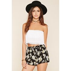 Forever 21 Women's  Pleated Floral Print Shorts ($15) ❤ liked on Polyvore featuring shorts, forever 21 shorts, forever 21, flower print shorts, floral shorts and rayon shorts