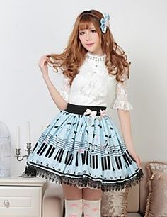 Blue Pretty Lolita Key and Cat Princess Kawaii Skirt Lovely... – USD $ 24.99
