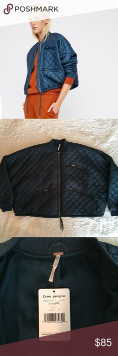 NWT Free People Quilted Bomber Jacket Nylon bomber with quilted design with three outer pockets, drawstring hem, and rubbed collar and cuffs. Sleeves are bat wing style. Turquoise color. Machine washable.   Bust: 68 in Length: 23.5 in Sleeve length: 17.5 in Free People Jackets & Coats