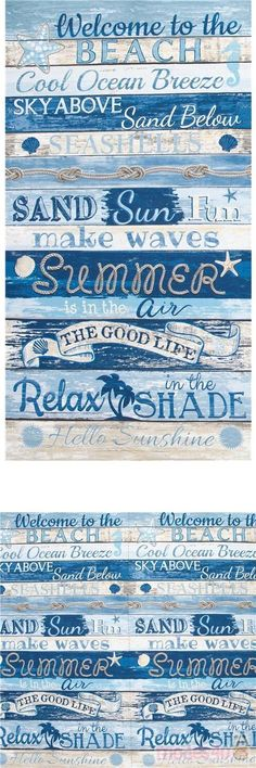 lovely beach holiday striped cotton fabric with texts like Welcome to the beach, Relax in the shade, Summer, Make waves etc. on tan and blue painted wooden planks print #Cotton #Retro #Beach #USAFabrics Retro Fabric, Blue Fabric, Cotton Fabric, Beach Fun, Beach Relax, Beach Words, Treasure Beach, Hello Sunshine, Beach Holiday