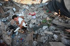 Amongst the wreckage, a little boy is happy to have found his cat.Free Palestine cats included.    #Gaza #animals #Cat #Israel #Palestine