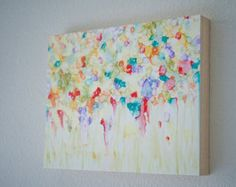 Summer Wildflower Field -  Wildflower Study Series -  Alcohol ink Painting - Abstract Flowers - 11x14
