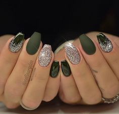 First set with the new Light Elegance Winter Collection 2016 2017 - LoveMyNailTech Available November Light Elegance hard gels Green Nail Designs, Simple Nail Designs, Nail Art Designs, Holiday Nails, Christmas Nails, Cute Nails, Pretty Nails, Hair And Nails, My Nails