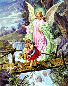 Angel Guiding Children Over Bridge