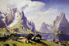 A Fjord in Norway: Victorian watercolour painting by the artist Hans Andreas Dahl (1881-1919).