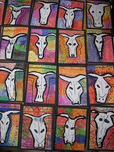 WHATS HAPPENING IN THE ART ROOM??: 4th Grade OKeeffe Skulls