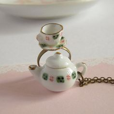 Teapot Necklace, Tea Cup Ring, Miniature Ceramic Jewelry Set, Classic Green And White