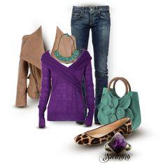 Purple Sweater, draped jacket, leopard print flats, flower purse, turquoise necklace, jasper gemstone  ring.