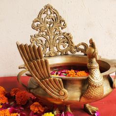Majestic Brass Peacock Urli or Vessel For Floating Flowers and Candles, Urli Of L 23 cm x Dia 20 cm x Ht 26 cm, Home Decor, Traditional Urli Dance Decorations, Diwali Decorations, Floating Flowers, Decorative Bowls, Artisan, Brass, Candles, Traditional, Antiques