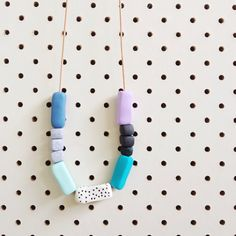Polka Dot Geometric Beaded Danidots Necklace in Pastel Lilac Purple, Black, Turquoise Blue, White, Mint, Concrete Grey and Navy Blue
