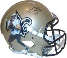 b17f4bb41 Drew Brees signed New Orleans Saints Riddell full size football helmet w   proof photo.