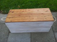Handmade Rustic Storage Chest / Trunk / Hope Box with rope handles. Whitewashed with waxed lid, rustic chest, rustic trunk