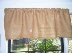 Burlap Window Valance 42 84 Wide x 16Long by CurtainsByJackieDix