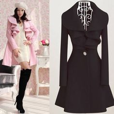 Women Girl Lady Trench Dress Coat Jacket Parka Slim Fit Outerwear Overcoat S-XL