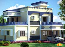 Double storied Flat roof Contemporary House more than 3000sqft