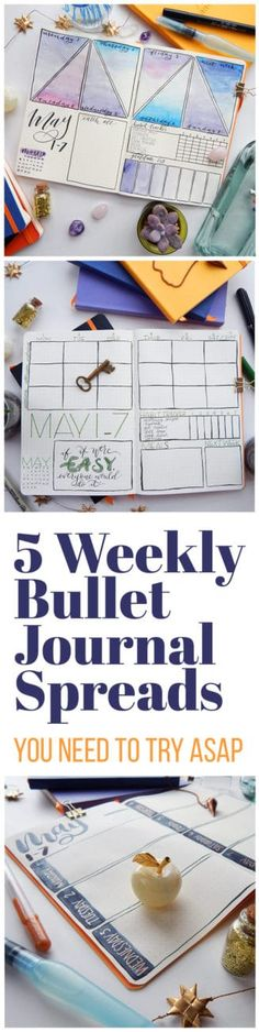 Creative Organization: Bujo Weeklies with Style. Weekly bullet journal spreads can be extremely useful layouts. Here are 5 to get your creative juices flowing and your planner brain ticking! Bullet Journal Doodles, How To Bullet Journal, Bullet Journal Spread, Bullet Journal Inspo, Bullet Journal Layout, My Journal, Bullet Journal Cleaning, Journal Notebook, Journal Inspiration