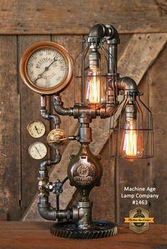 Steampunk Industrial Steam Gauge Lamp, Railraod Locomotive #1463
